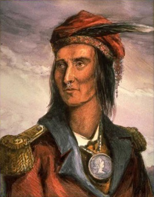 A warrior from the Iroquois tribe in a British uniform