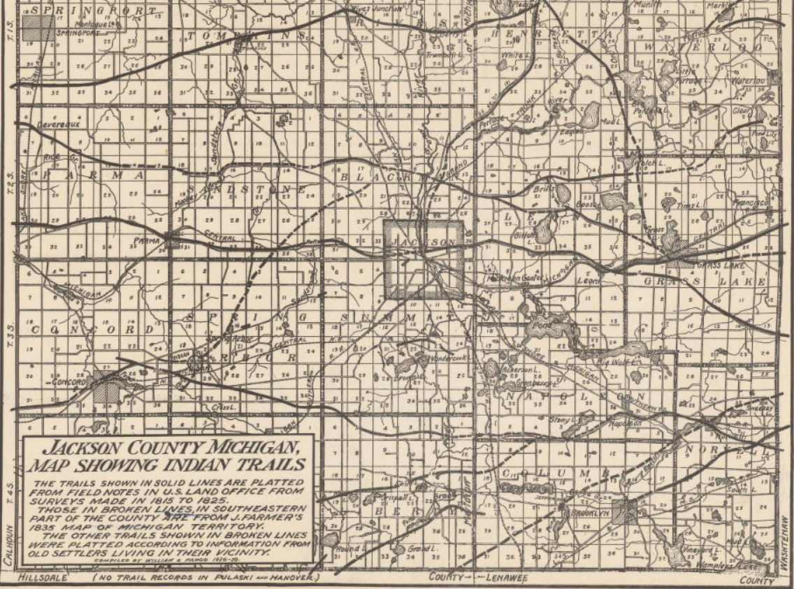 Jackson County Michigan Indian Trails Map | Native Heritage