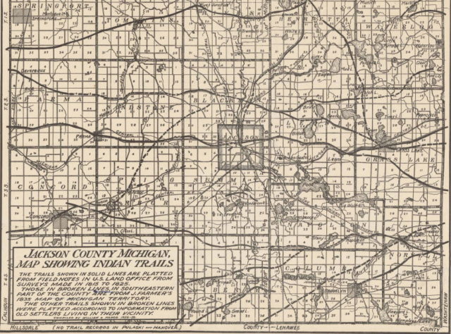 Jackson County Colorado Map.Jackson County Michigan Indian Trails Map Native Heritage Project