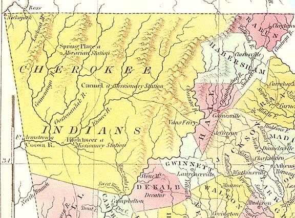 Georgia Cherokee lands 1830