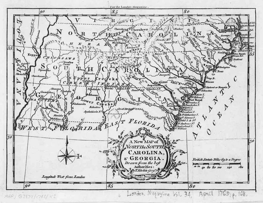 1765 North Carolina, South Carolina and Georgia Map | Native ...