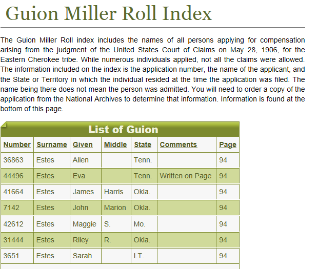 cherokee guion miller index
