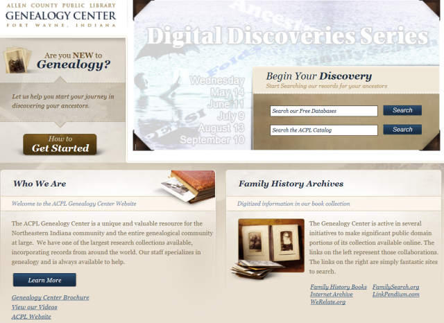 genealogy center home page crop