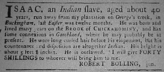 isaac, indian slave